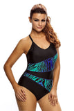Asymmetric Print Splicing Straps Cross Monokini in Black