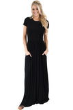 Black Short Sleeve Ruched Waist Maxi Dress