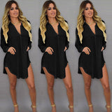 US STOCK Plus Size Summer Women Loose Long Sleeve Chiffon Shirt Blouse Top Dress
