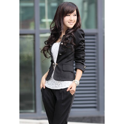 Elegant Solid Color Bowknot Embellished Cotton Blend Blazers For Women - Black - ONE SIZE
