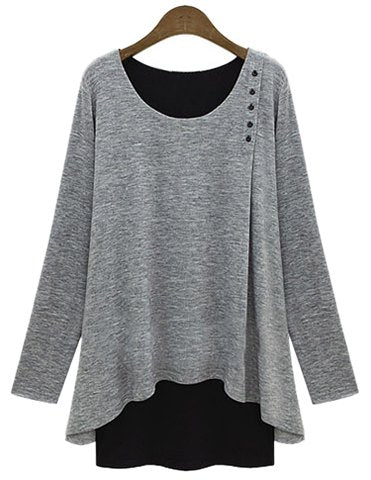 Stylish Women's Scoop Neck Faux Twinset Design Long Sleeve T-Shirt - Light Gray - L