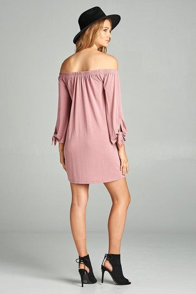 Women's Off Shoulder Tie Long Sleeve Jersey Dress