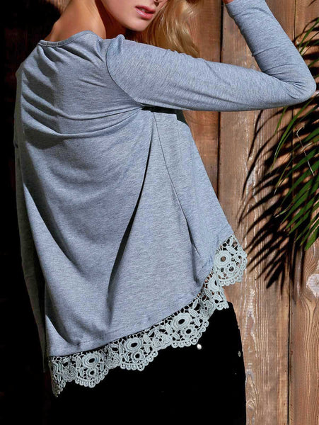 Stylish Gray Lace Spliced Hem Long Sleeve T-Shirt For Women - Gray - M