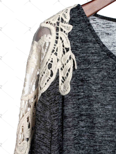 Charming Gray Hollow Out Lace Spliced 3/4 Sleeve Cardigan For Women - Gray - XL