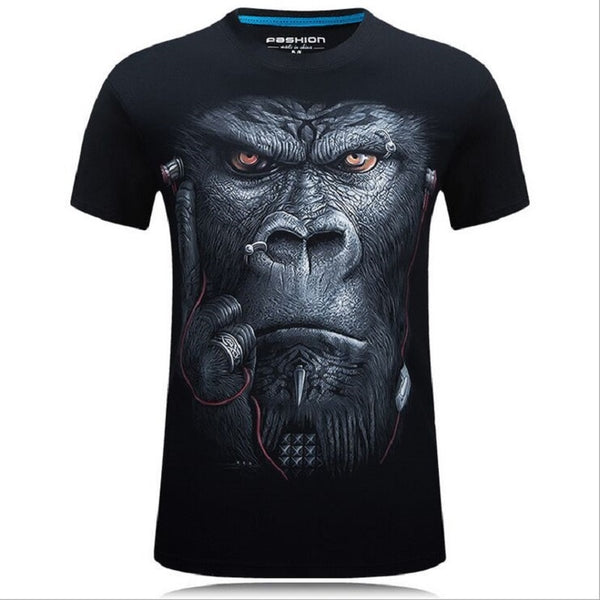 2017 summer Men's animal T-Shirt orangutan/gas monkey/Wolf 3D Printed T-Shirts Men Funny tees tops tee shirt large size