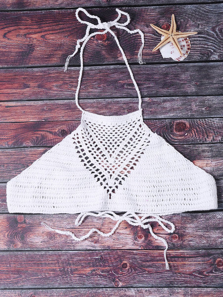 Sexy Halter Solid Color Hollow Out Crochet Tank Top For Women - White - ONE SIZE