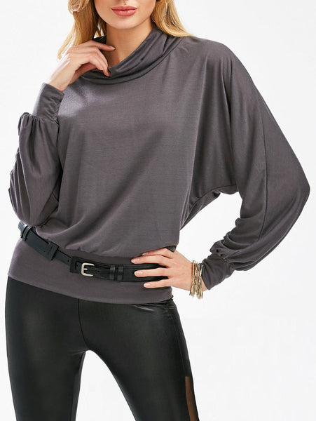 Stylish Cowl Neck Long Sleeves Batwing Solid Color Bodycon Cotton Blend Tee For Women - Deep Gray - ONE SIZE