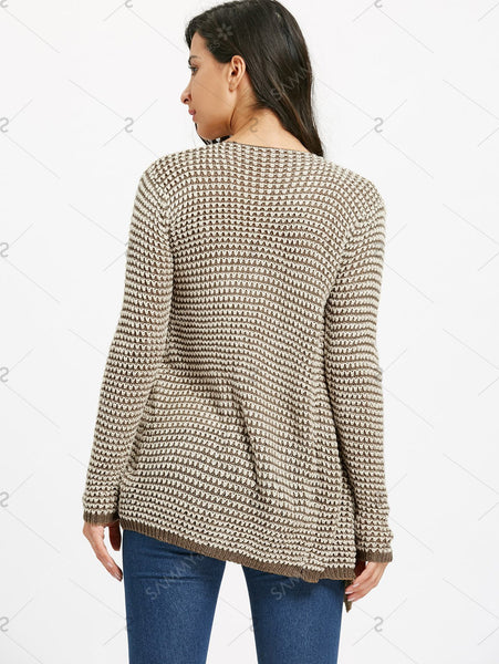 Trendy Collarless Knitted Long Sleeve Cardigan For Women - Khaki - M