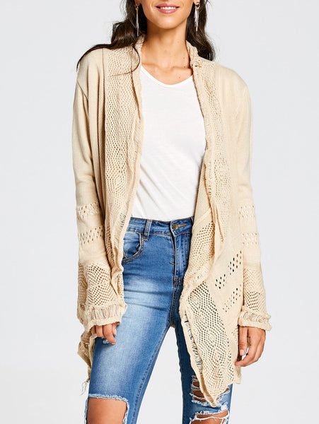 Concise Collarless Hollow Out Solid Color Irregular Cardigan For Women - Khaki - M