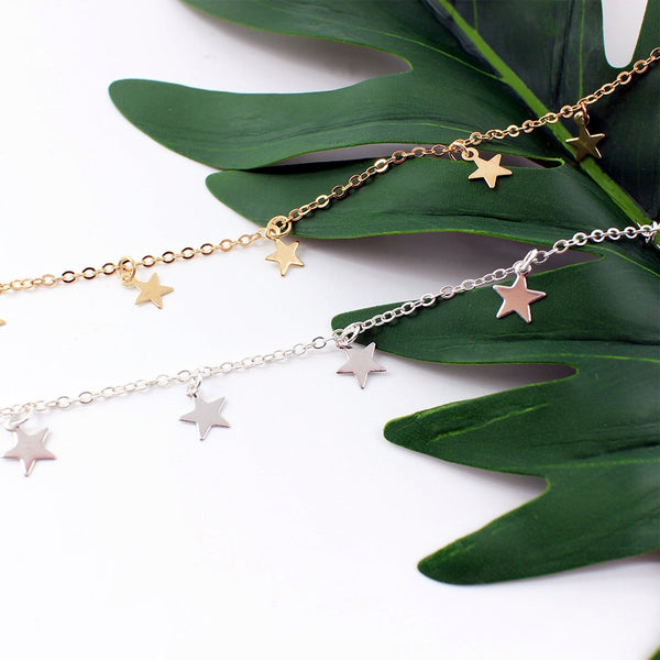 2018 New Boho Women chocker gold Silver Chain star choker Necklace collana Kolye Bijoux Collares Mujer gargantilha Collier Femme