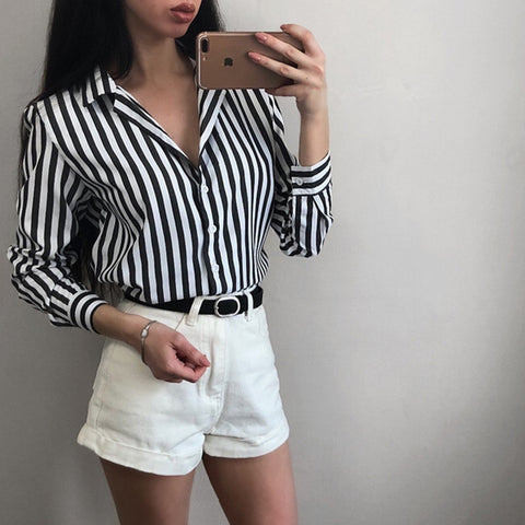 2018 New Spring Autumn Women Blouse black strips V-Neck Long Sleeve Work Shirts Women office Tops Striped blouse for business