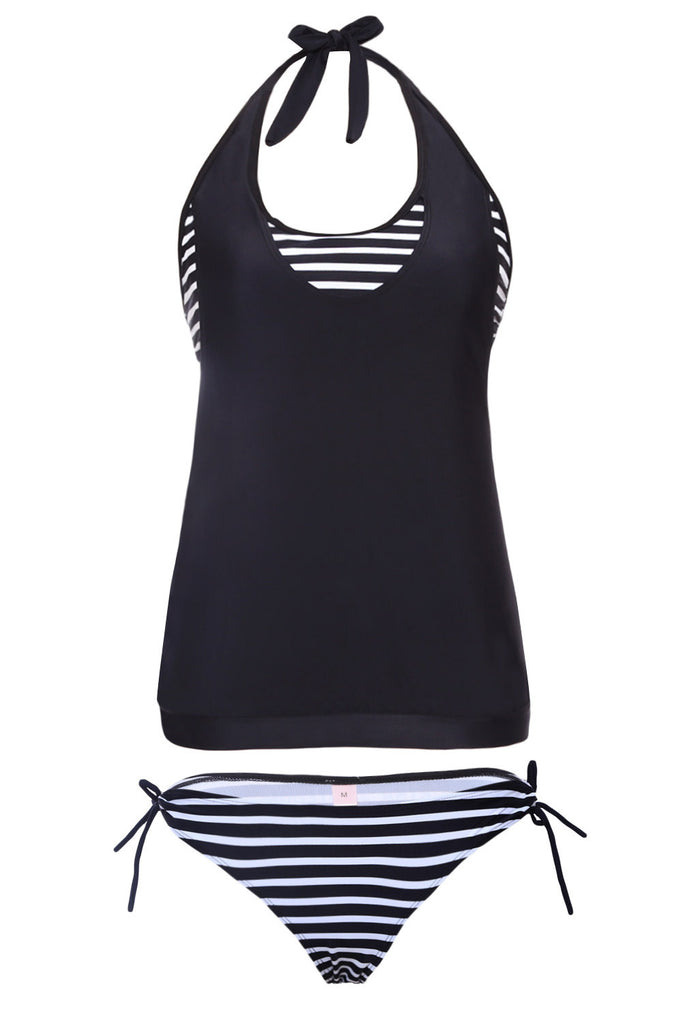 Layered Tankini Black White Striped 2pcs Bathing Suit