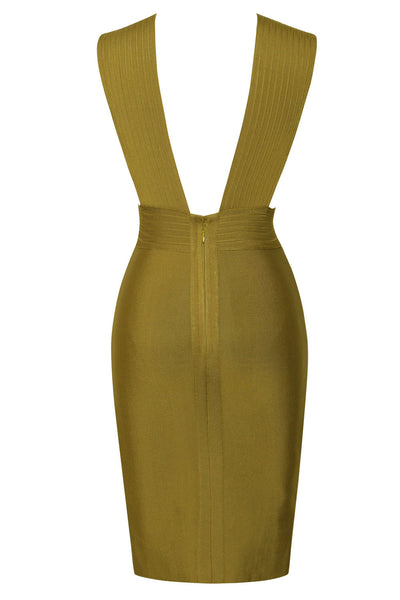 Cut Out Detail Olive Green Bandage Dress