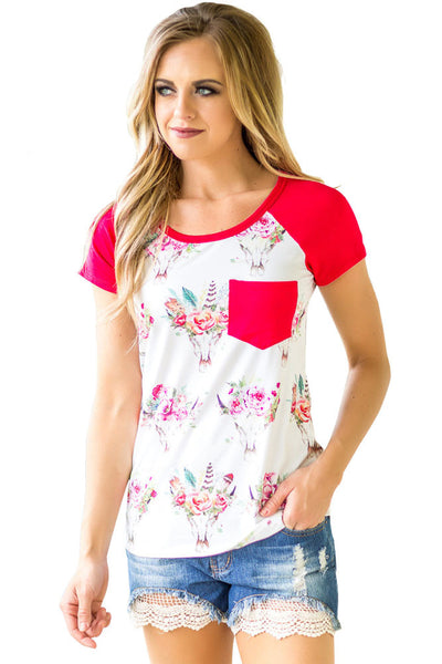 Rosy Short Sleeve Pocket Floral Shirt