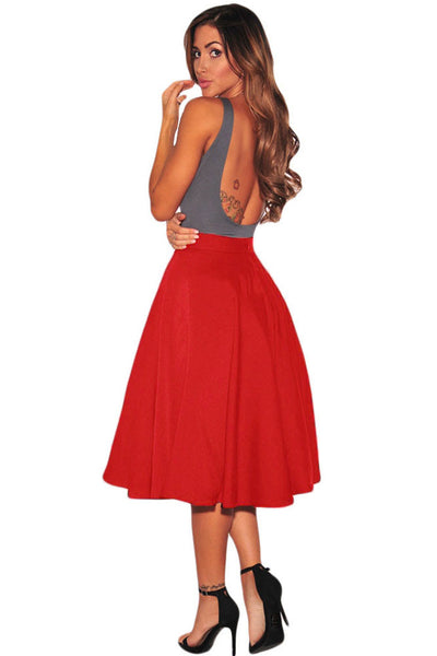 Red Flared A-Line Midi Skirt