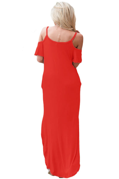 Red Sassy Open Shoulder Maxi Dress