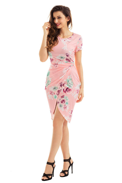 Chic Knot Side Wrapped Blush Floral Dress
