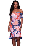 Samba Navy Blue Floral Multi-color Print High-low Dress