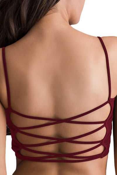 Wine Red Light Padded Criss Cross Back Yoga Sports Bra