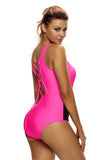 Mesh Splicing Rosy Tank Zipped Monokini with Lace up Back