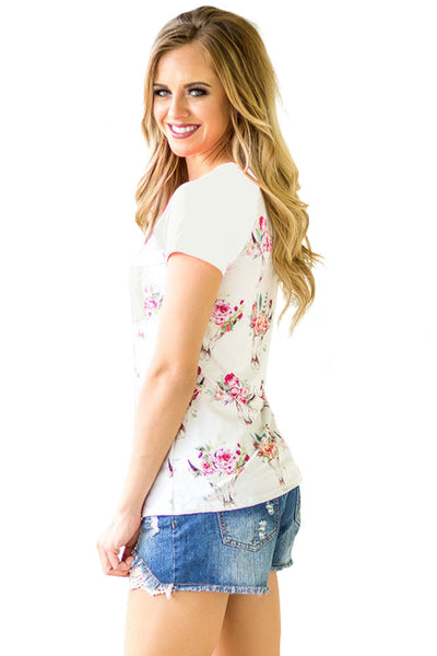 White Short Sleeve Pocket Floral Shirt