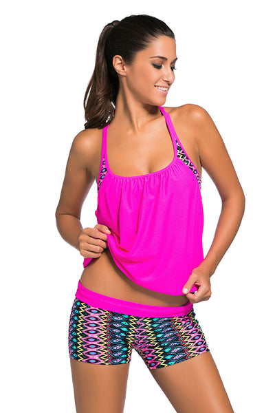 Colorful Print Insert Padded Rosy 2pcs Tankini Swimsuit