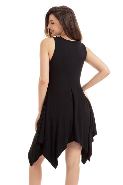 Black Draped Asymmetric Hemline Sleeveless Jersey Dress