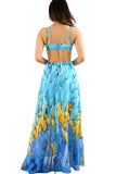 Turquoise Multi-color Feather Print Maxi Dress