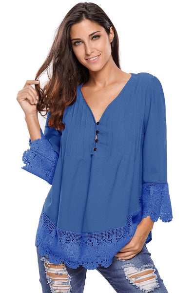 Blue Lace Detail Button Up Sleeved Blouse