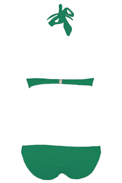 Green Push up Strappy Halter Bikini Swimwear