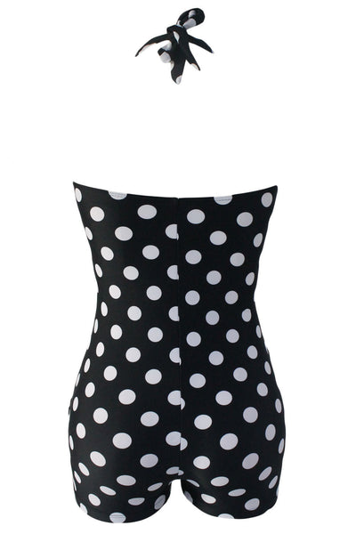 Black White Polka Dot Vintage Halter Sheath Swimsuit