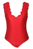 Scalloped V Neck Red One Piece Swimsuit