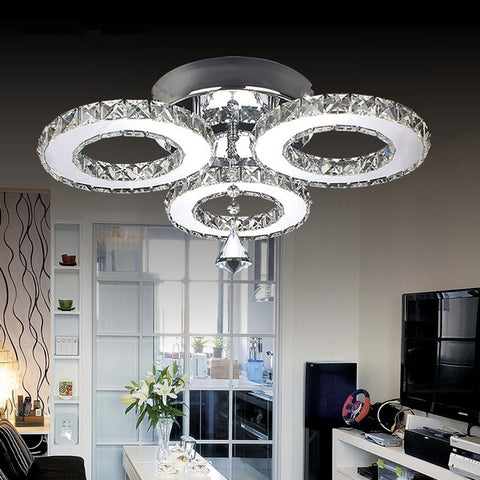Modern K9 Crystal Led Ceiling Light Chandelier Lighting 3 Rings Hanging lamp Warm White/Cold White Stainliess steel Lustre for Bedroom Living Room Light Fixtures
