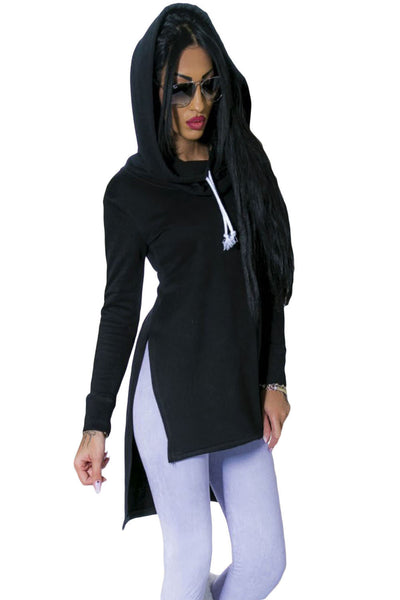 Black Split Side Long Drawstring Hoodie