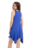 Royal Blue Draped Asymmetric Hemline Sleeveless Jersey Dress