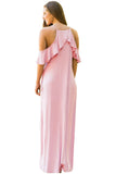 Dusty Pink Ruffle Sleeve Cold Shoulder Maxi Dress