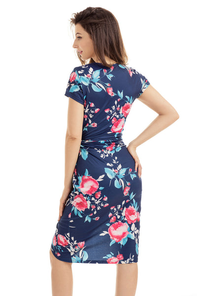 Chic Knot Side Wrapped Navy Blue Floral Dress