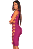 Wine Bandage Gold Button Cut Out Sides Dress