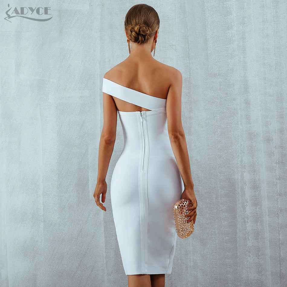 9267d0430f5 ... Adyce Bodycon Bandage Dress Vestidos Verano 2018 Summer Women Sexy  Elegant White Black One Shoulder Midi ...
