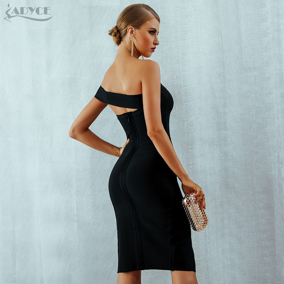 e641ebf94720 ... Adyce Bodycon Bandage Dress Vestidos Verano 2018 Summer Women Sexy  Elegant White Black One Shoulder Midi ...