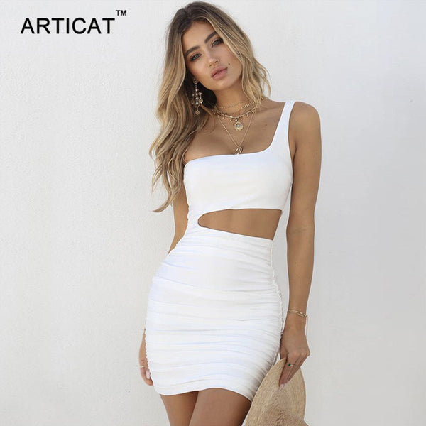 Articat Off Shoulder Sexy Bodycon Bandage Dress Women Sexy Strapless Long Sleeve Hollow Out Party Dresses Vestidos Summer Dress