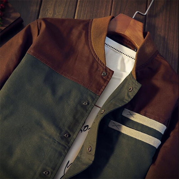 Autumn Korean men's jacket new Cultivate one's morality short paragraph color matching collar jacket male baseball uniform M-5XL