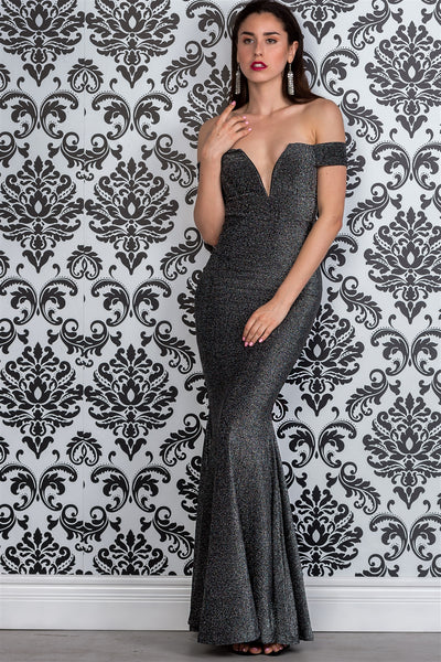 Ladies fashion black & silver glitter off the shoulder mermaid dress