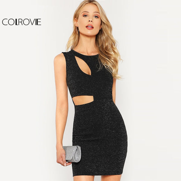 COLROVIE Black Cut Out Glitter Dress Women Round Neck Sleeveless High Waist Sexy Party Dress 2018 Spring Short Bodycon Dress