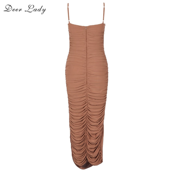 Deer Lady 2018 Summer Dress Women Long Club Elegant Bodycon Maxi Dress Slit Strap Sexy Mesh Organza Dress Brown For Party Night