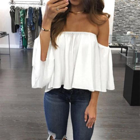 Fashion Women Off Shoulder Top Long Sleeve Pullover Casual Blouse Hals Langarm Chiffon Schulter Bluse 2017 Fashion New
