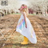 HEHello Enjoy Pageant Dresses For Girls Clothes Summer Condole Belt	 Rainbow Sea Beach Princess Dress Kids Girls Clothing 2018