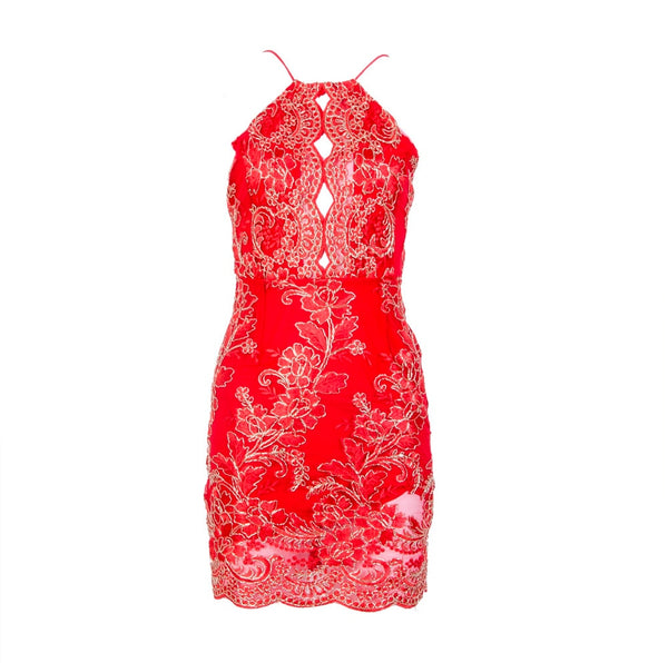 Hirigin Women Sexy Summer Bandage Sleeveless Lace Floral Bodycon Evening Party Casual Short Mini Dress