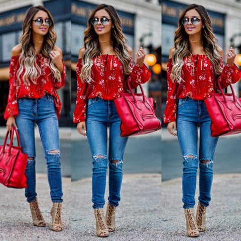 New Women Off Shoulder Tops Red Slash Neck Floral Autumn Long Sleeve Shirt Casual Blouse Loose Crop