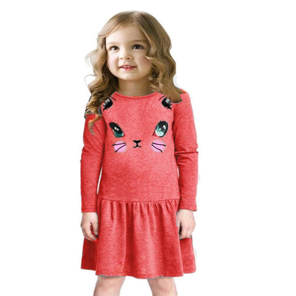 Princess Girls Dress 2017 New Fashion summer Cat Print Children Long Sleeve Cartoon baby girl Cotton Party Dresses for kids